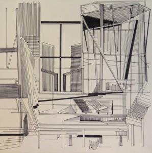 PLAN III.série repentir et dessins.50X50cm.Papier 120 gr, feutres industriels,crayon carbone.2012